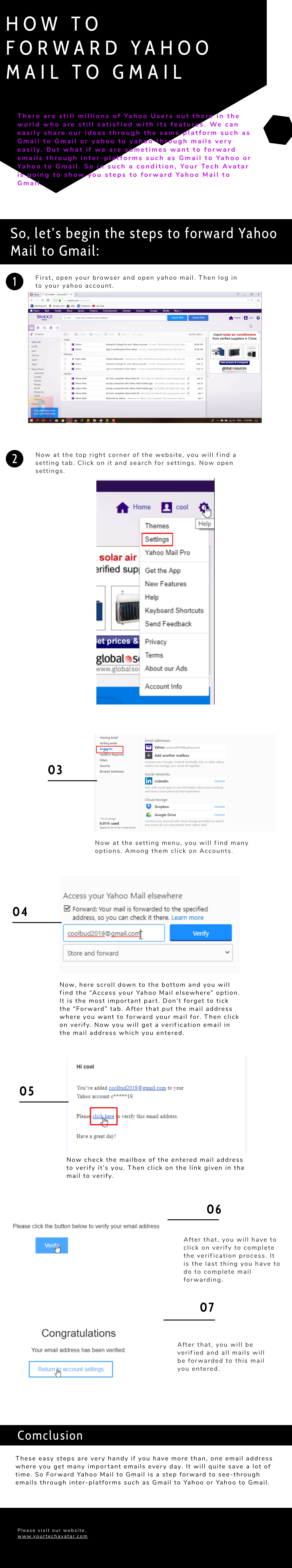 Infographic for Forward Yahoo Mail to Gmail