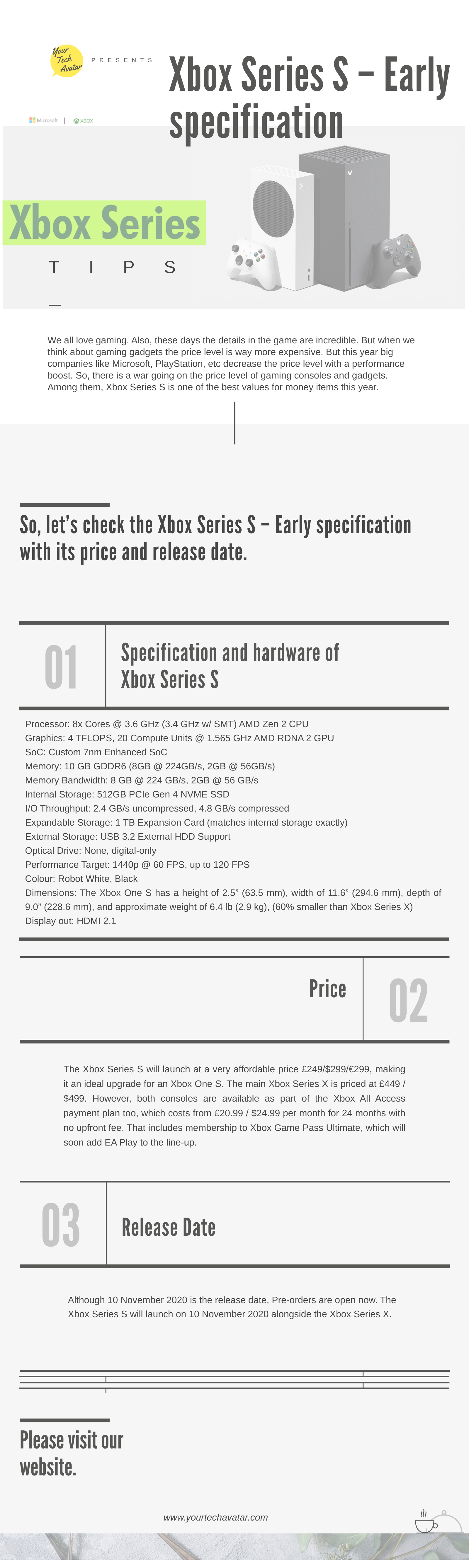 Infographic for Xbox Series S - Early specification