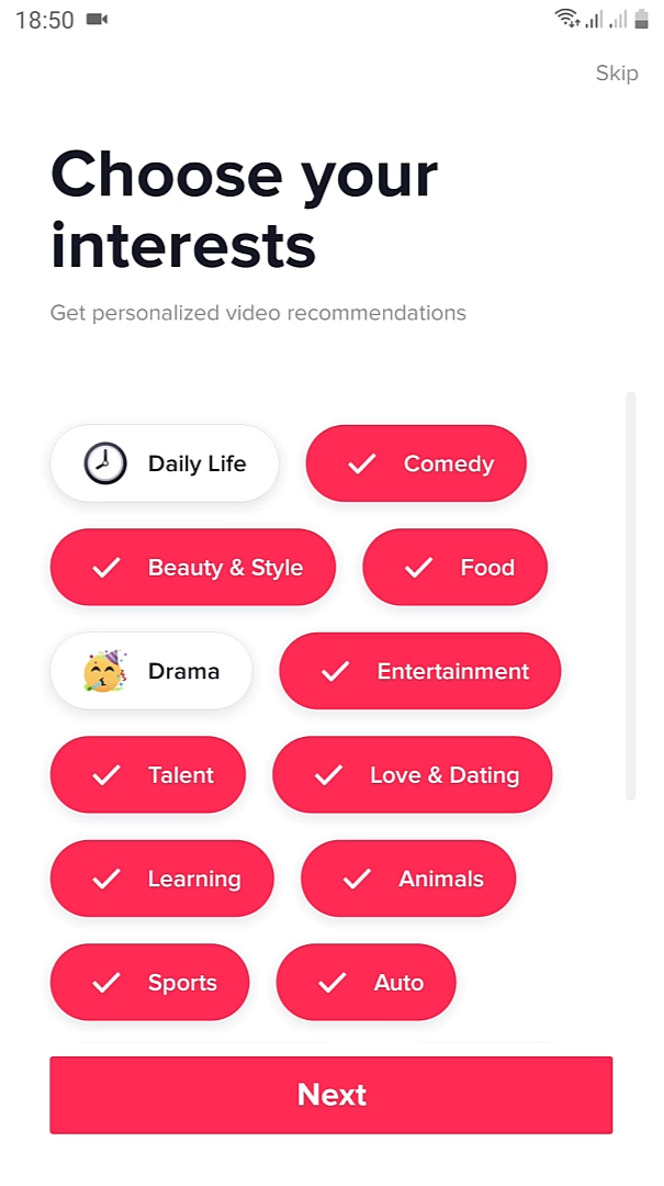 interest to Create TikTok Account