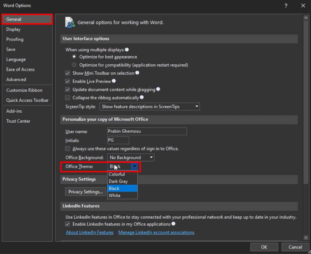 enable Dark Mode in Office options