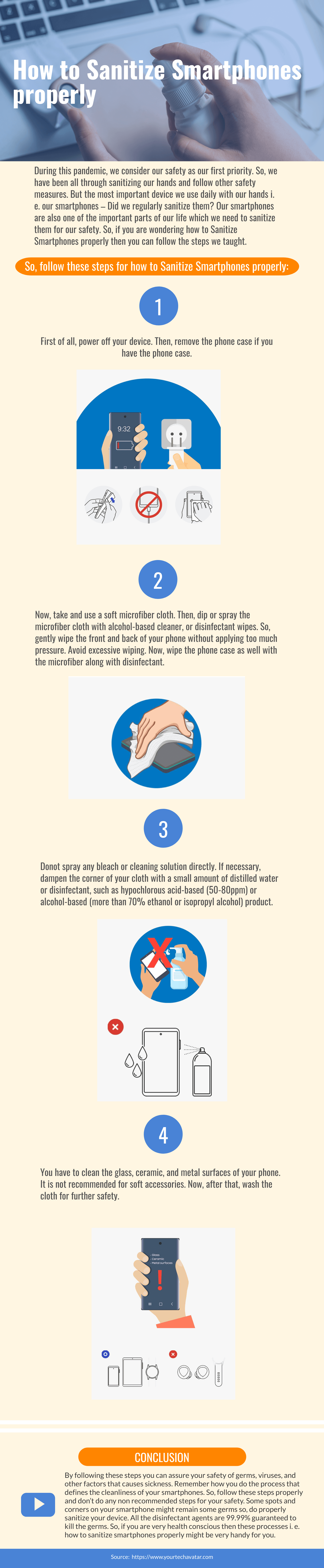 Infographic for How to Sanitize Your Smartphones properly