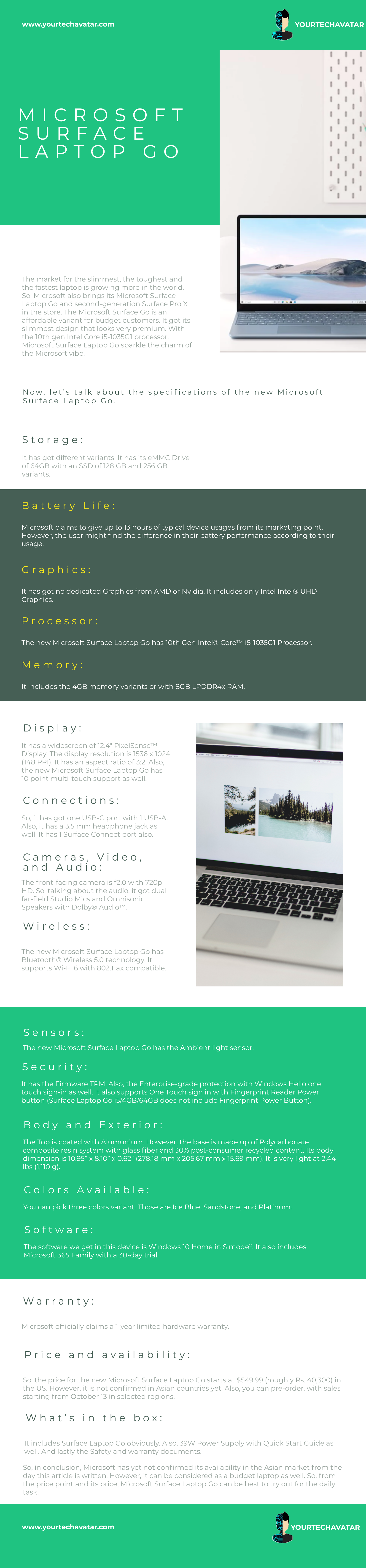 Infographic for Microsoft Surface Laptop Go