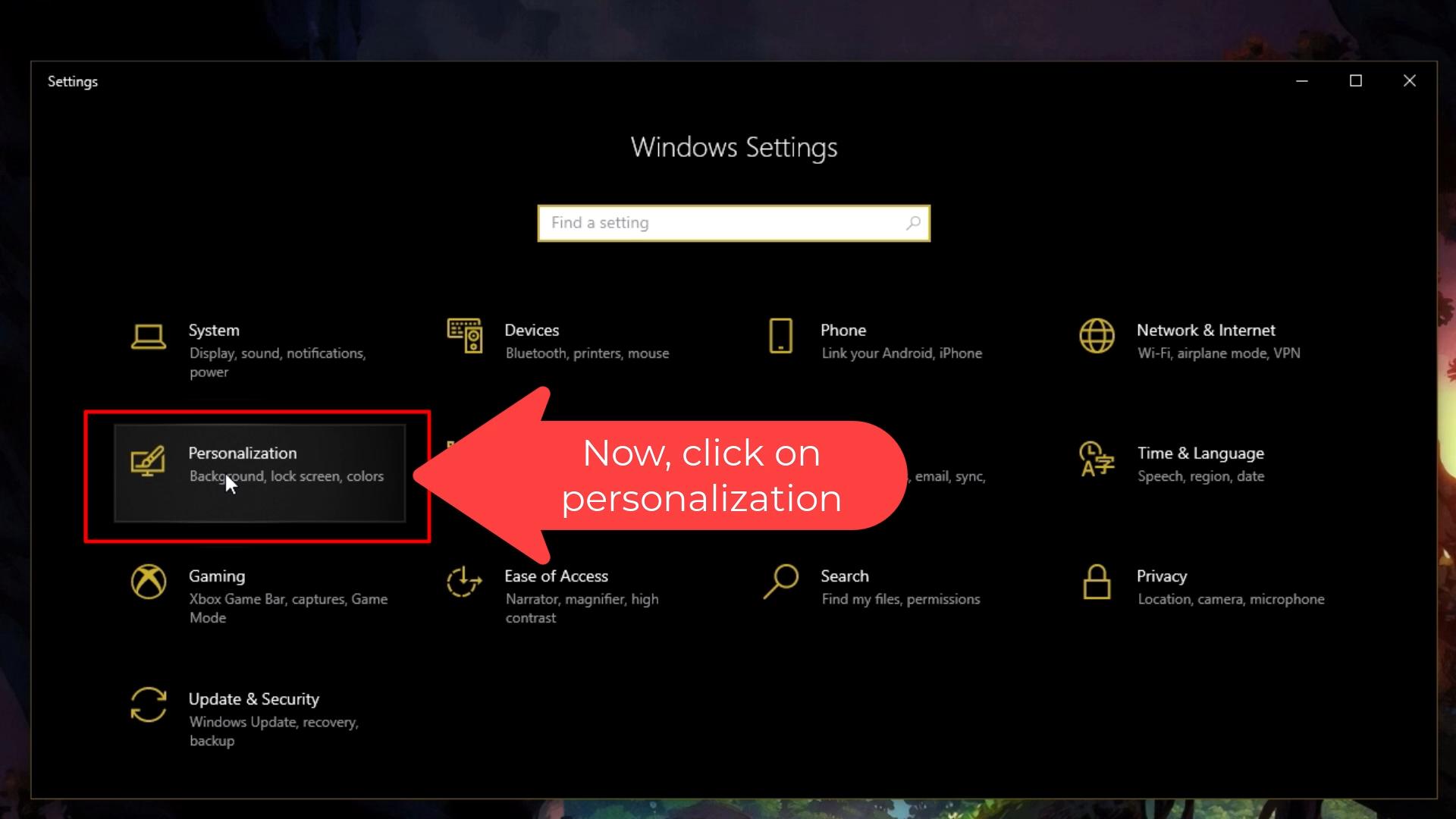 click personalization
