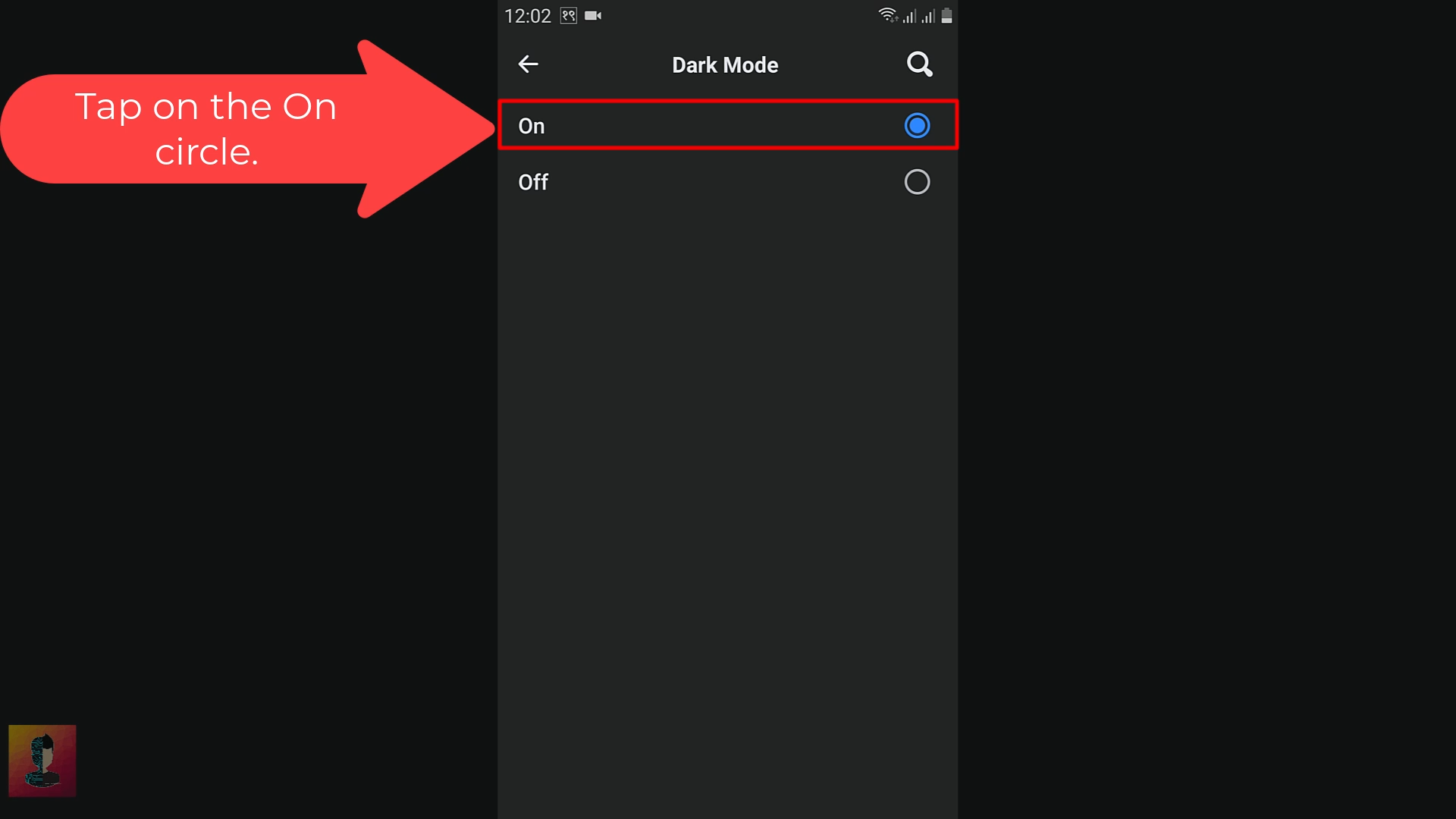 select on button
