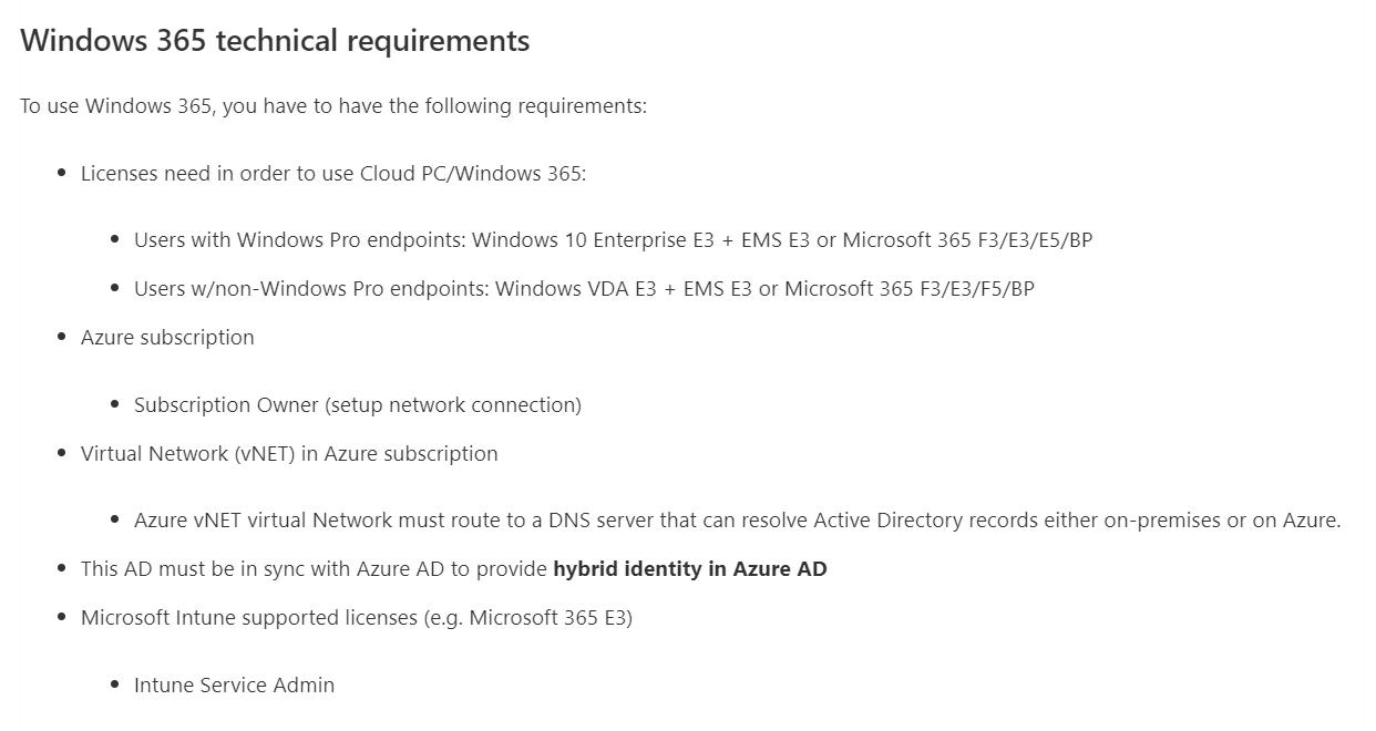Windows 365 requirements